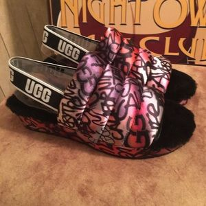 NWOT AUTHENTIC UGG 'YEAH' GRAFFITI FLUFFY SLIPPERS